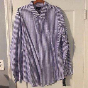 NWT Club Room Blue/White striped button down shirt